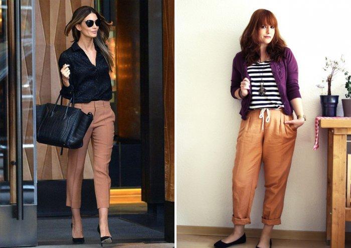 Укороченные классические коричневые брюки