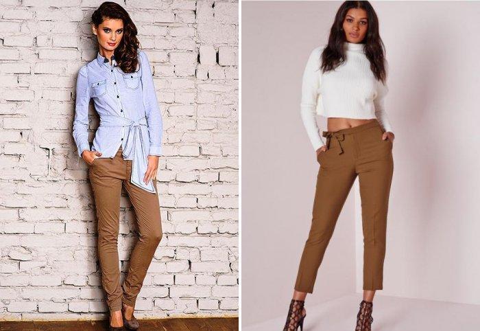 Коричневые брюки с высокой талией