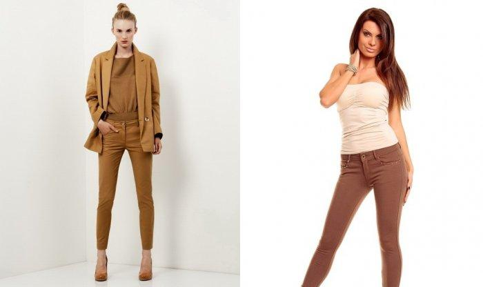 Узкие коричневые брюки