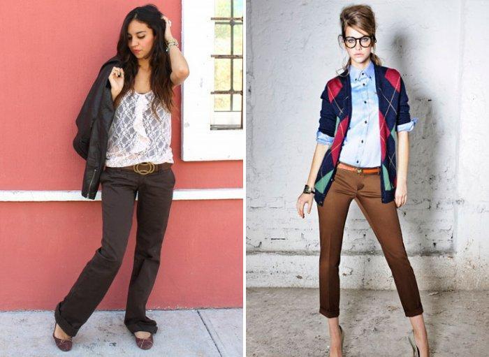 Коричневые брюки для прогулки