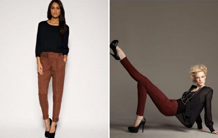 Коричневые брюки с черной блузой