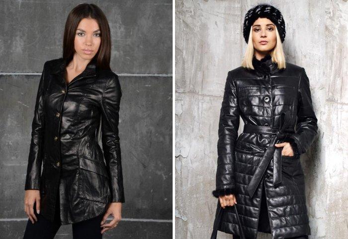 Стильная черная кожаная куртка