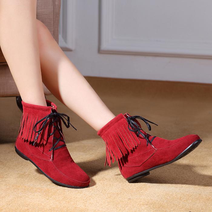 Красные мокасины с бахромой на шнуровке