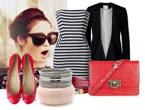 Стильная одежда для красных мокасинов