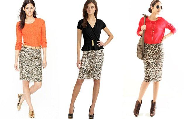 С чем носить леопардовую юбку карандаш?