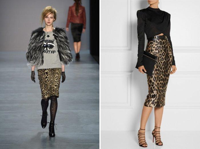 Леопардовая юбка карандаш для осени