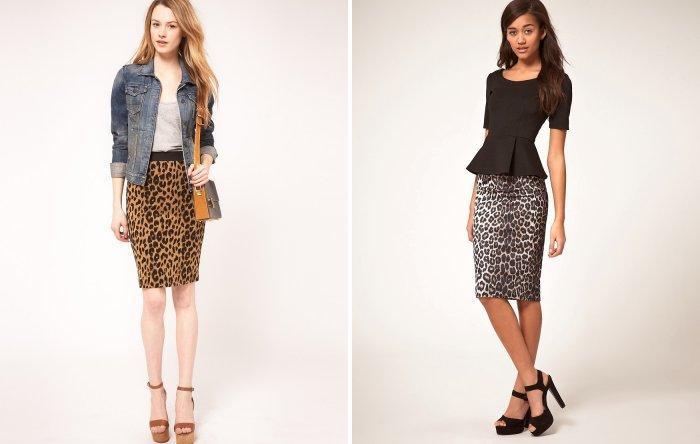 Леопардовая юбка карандаш с босоножками на высоком каблуке