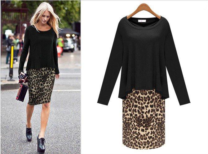 Леопардовая юбка карандаш с черной блузой навыпуск