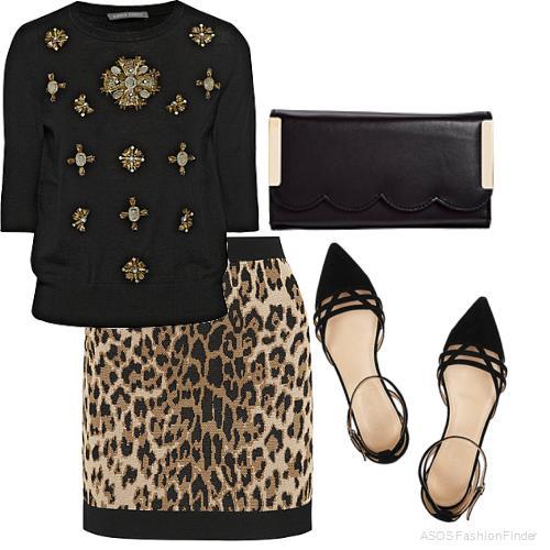 Леопардовая юбка карандаш в сочетании с черным