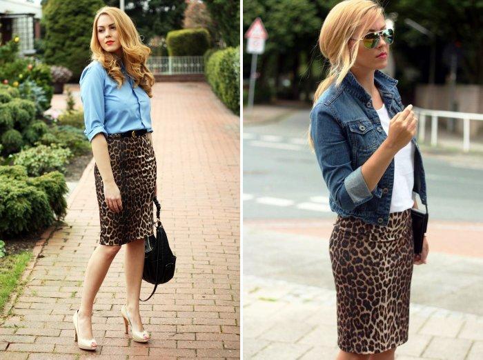 Леопардовая юбка карандаш