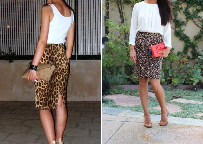 Леопардовая юбка карандаш с белой блузой