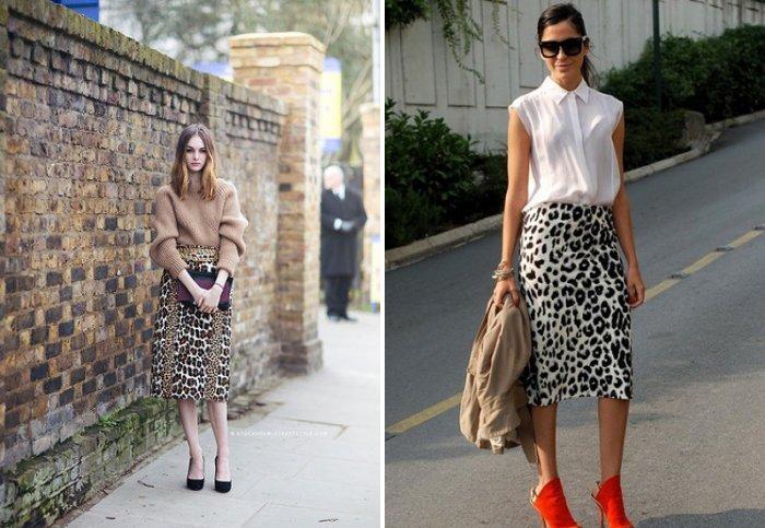 Леопардовая юбка карандаш в сочетании с туфлями на каблуке