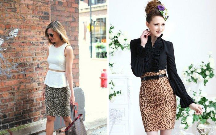 Леопардовая юбка карандаш: модно и стильно