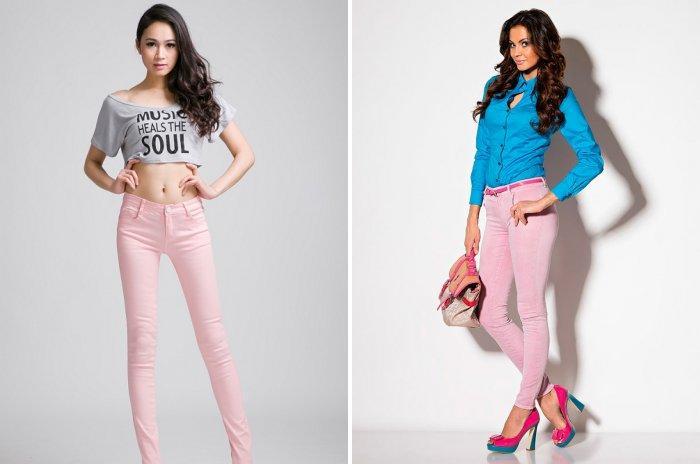 Розовые брюки для стройных девушек