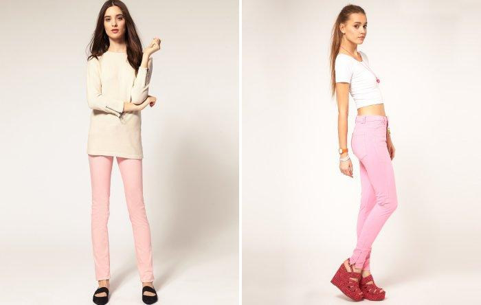 Нежно-розовые брюки