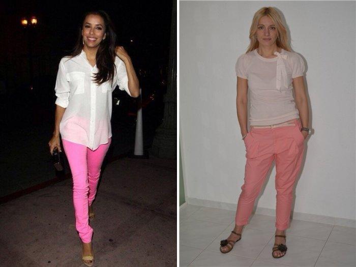 Розовые брюки с босоножками на низком каблуке