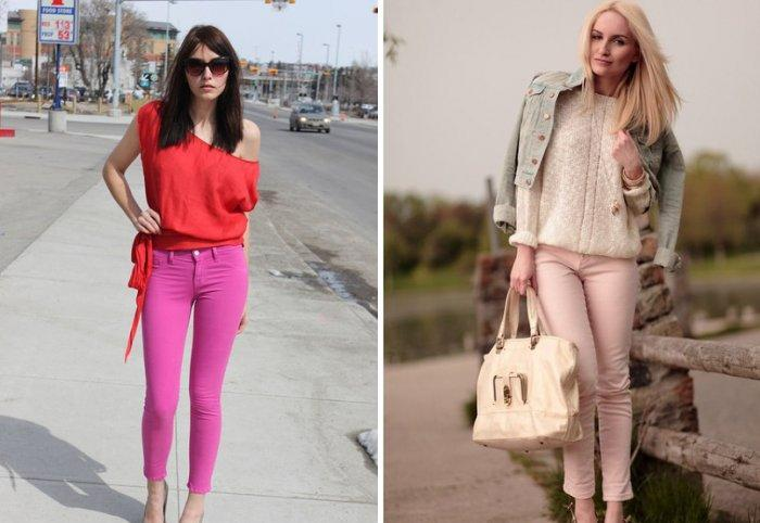 Романтический образ в розовых брюках