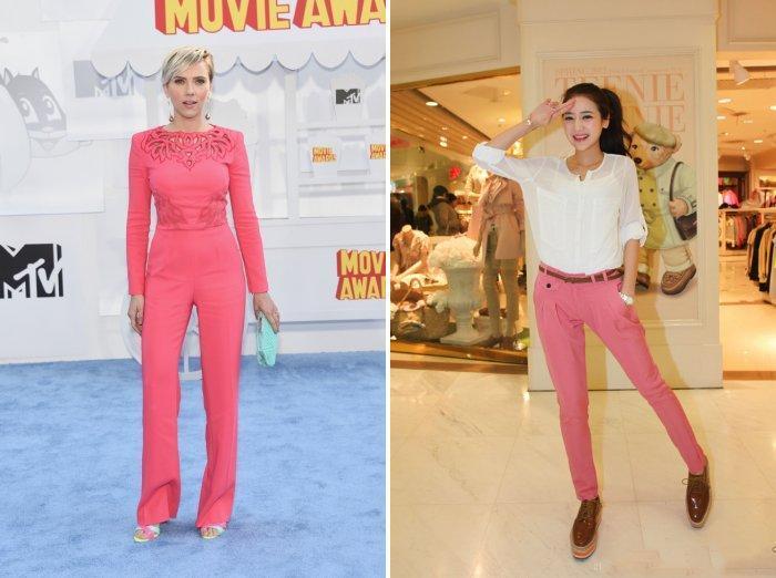 Розовые брюки с оранжевым оттенком
