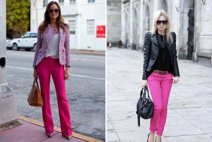 Розовые брюки с туфлями на каблуке