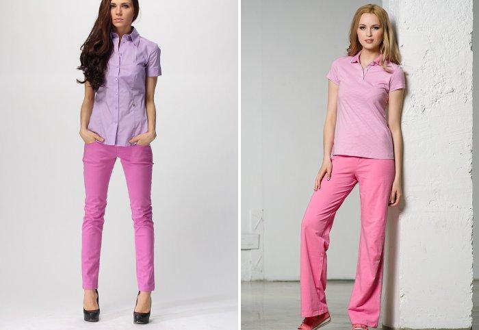 Розовые брюки и рубашка в тон