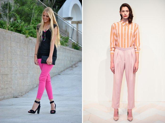Розовые брюки: для прогулки и работы в офисе