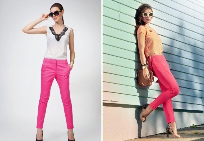 Розовые брюки с однотонной светлой блузой