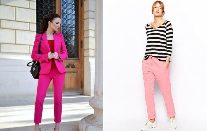Стильные розовые брюки