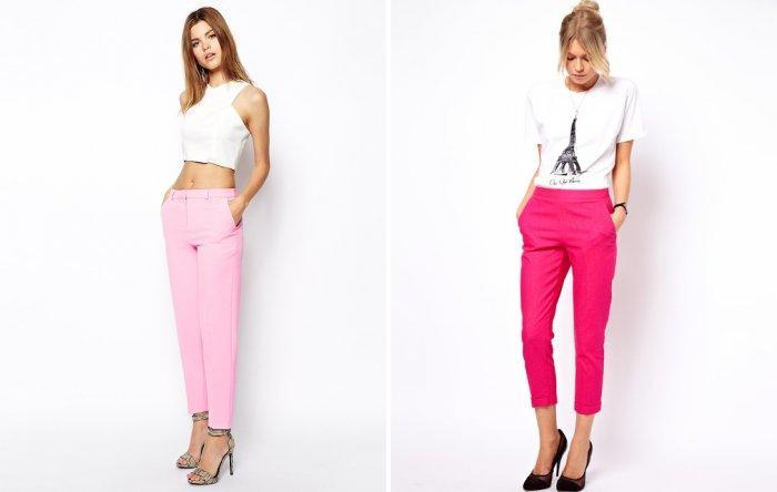Укороченные классические розовые брюки