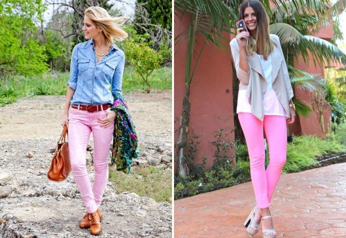 Розовые брюки из джинсового материала