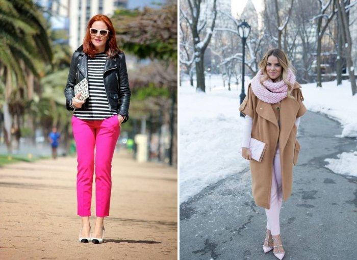 Модные розовые брюки