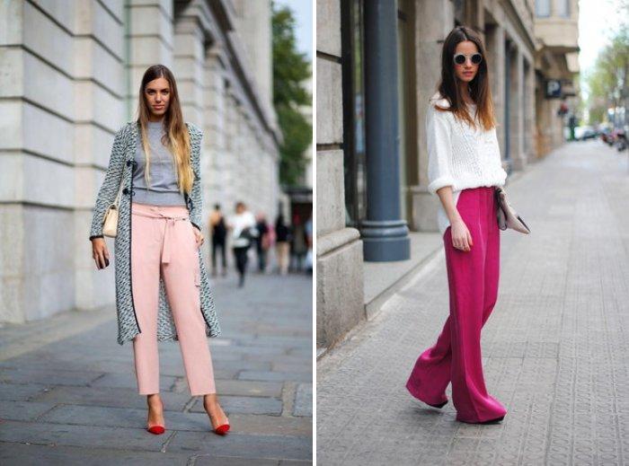 Розовые брюки свободного покроя