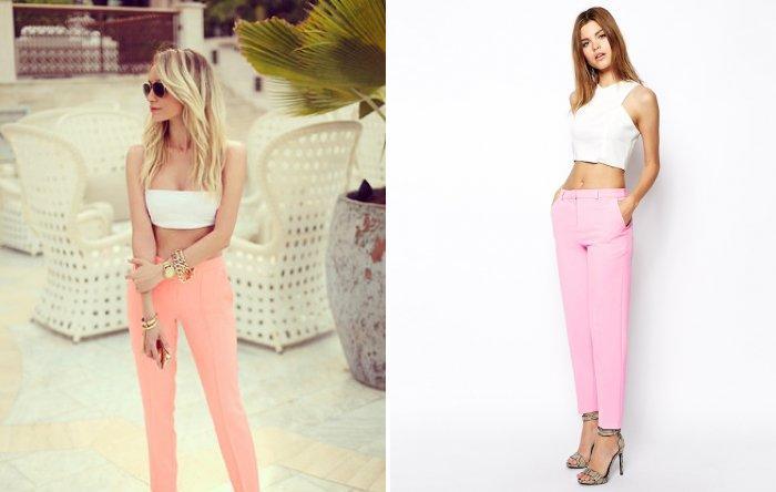 Розовые брюки в сочетании с молочным топом