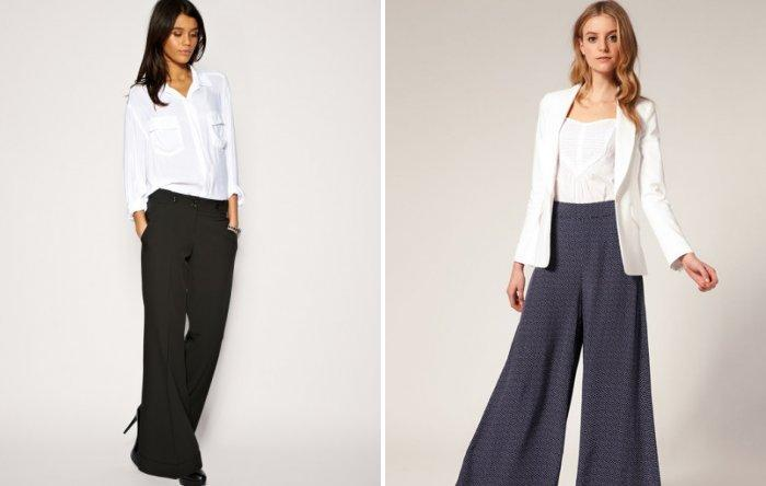 Деловой стиль с широкими брюками