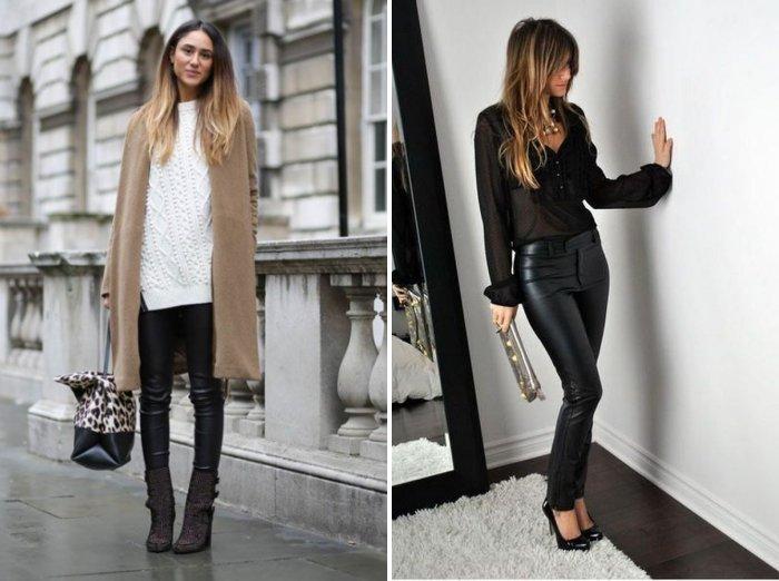 Зауженные кожаные брюки