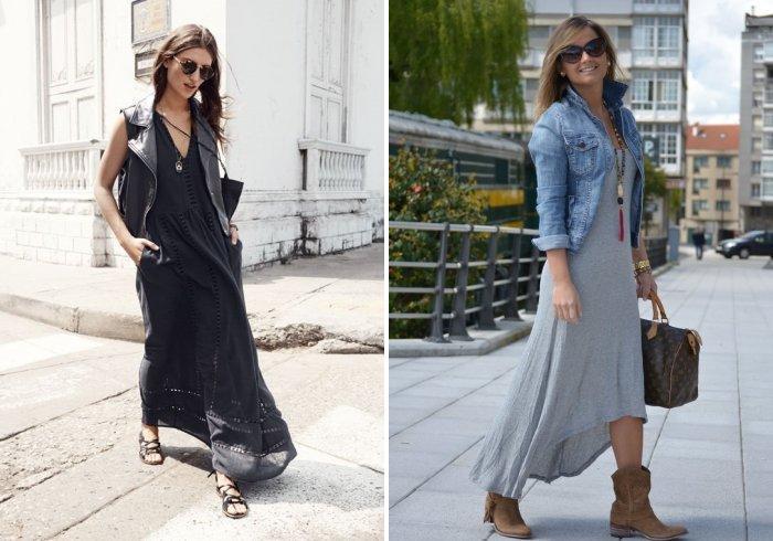 Длинное платье в сочетании с обувью на низком ходу