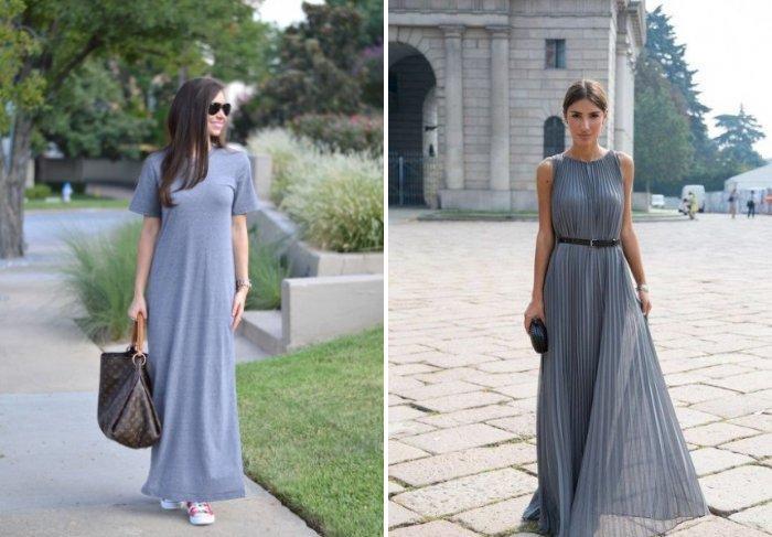 Простое длинное серое платье