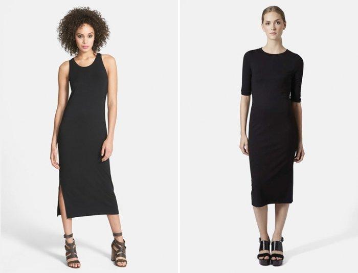 Черное платье миди с босоножками на каблуке