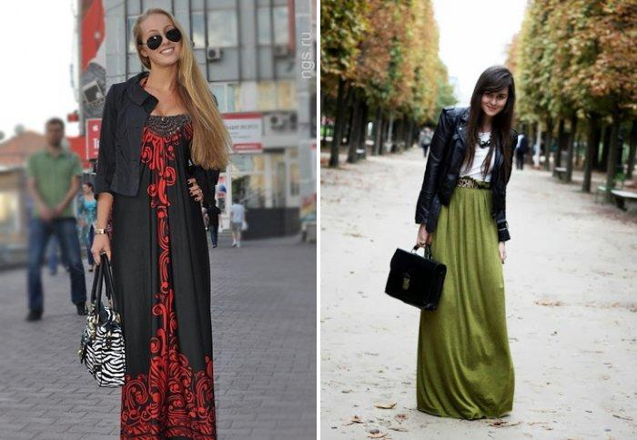 Длинное модное платье в пол