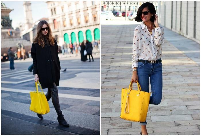 Образ с массивной желтой сумкой