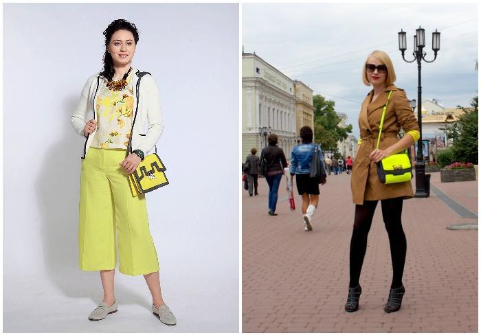 Модная желтая сумка с черными линиями