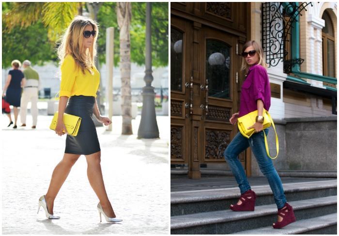 Модная желтая сумка для ношения на руках