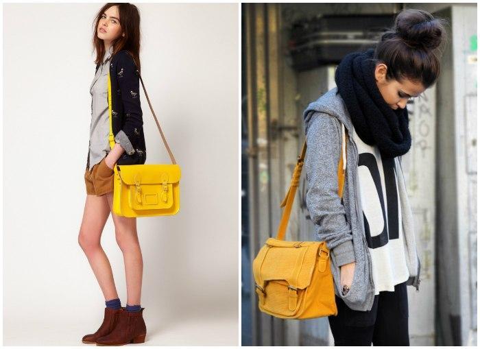 Желтая сумка для повседневной носки
