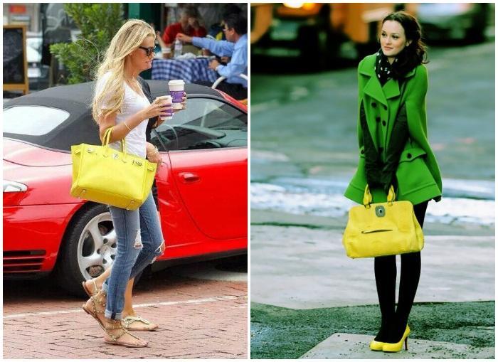 Городской стиль с желтой сумкой