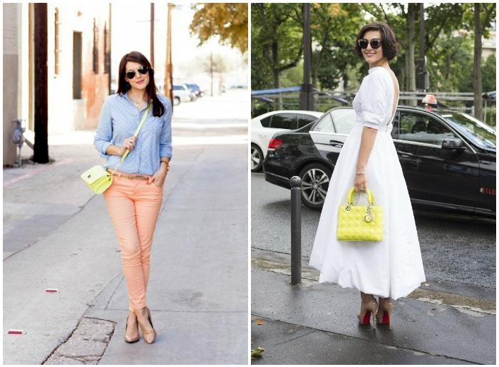 Сочетание желтой сумки с платьем и штанами