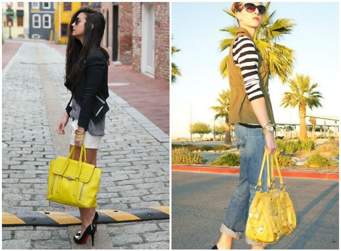 Модные образы с желтыми сумками