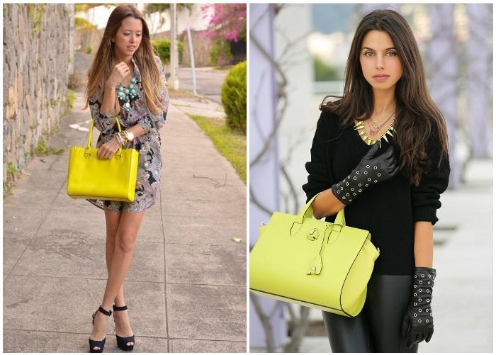 Модная женская желтая сумка с короткими ручками