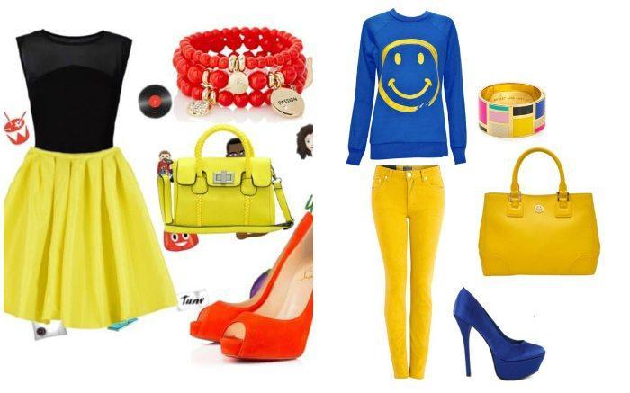 Сочетание желтой сумки и желтых цветов в одежде