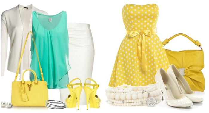 Романтичный образ с желтой сумкой