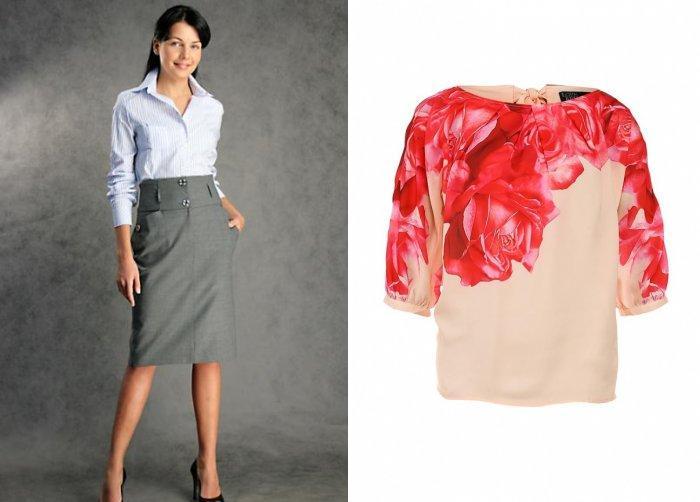 Серая юбка с шелковой блузой