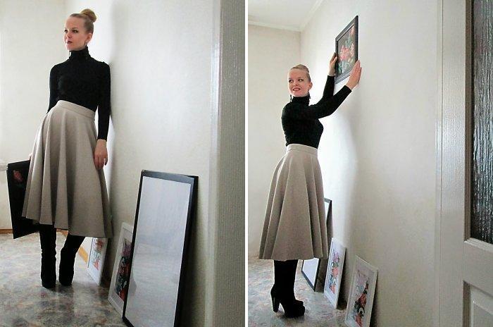 Серая юбка модели солнце